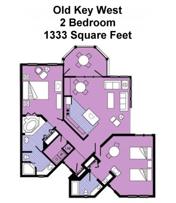 Disney Old Key West Resort 2 Bedroom Villa Floor Plan